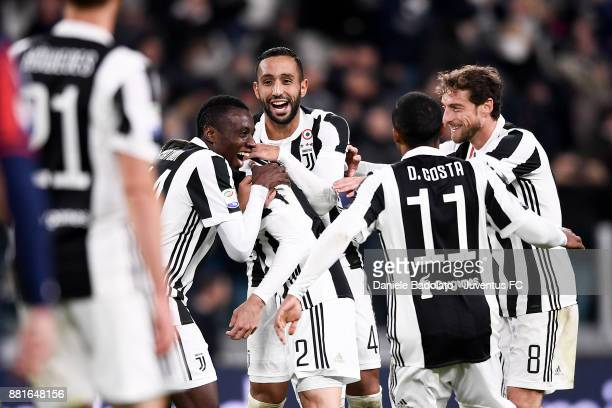 Mattia De Sciglio celebrates 20 goal during the Serie A match between Juventus and FC Crotone at Allianz Stadium on November 26 2017 in Turin Italy