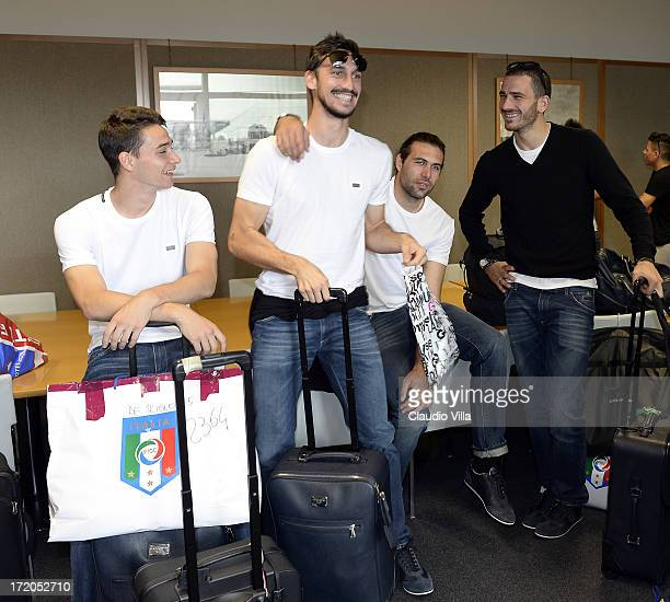 Mattia De Sciglio Davide Astori Salvatore Sirigu and Leonardo Bonucci of Italy at Malpensa Airport on July 1 2013 in Milan Italy