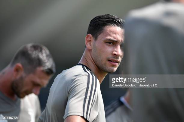 Mattia De Sciglio during a Juventus training session at Juventus Training Center on July 9 2018 in Turin Italy