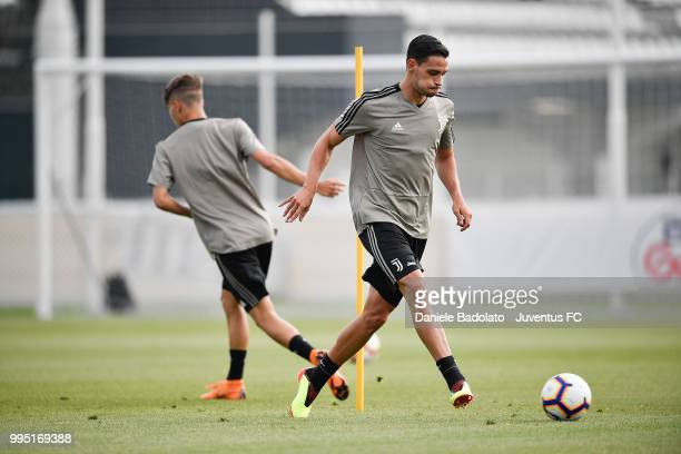 Mattia De Sciglio during a Juventus training session at Juventus Training Center on July 10 2018 in Turin Italy