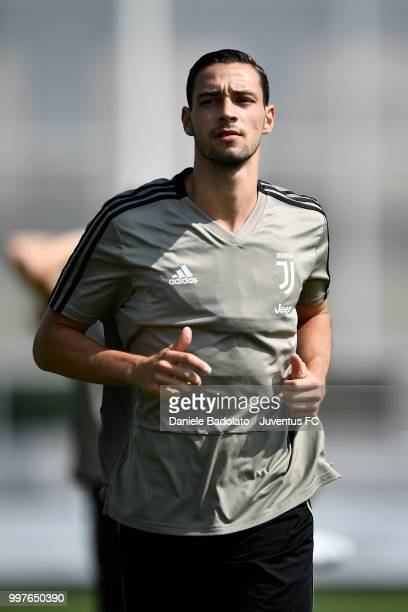 Mattia De Sciglio during a Juventus training session at Juventus Training Center on July 13 2018 in Turin Italy