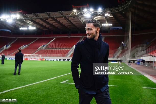 Mattia De Sciglio during a Juventus Walk Around at Karaiskakis Stadium on December 4 2017 in Piraeus Greece