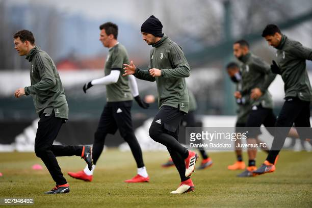 Mattia De Sciglio during the training session before the Champions League match between Tottenham Hotspur and Juventus at Juventus Center Vinovo on...