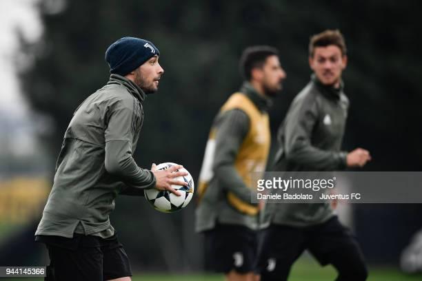 Mattia De Sciglio in action during the Champions League training session at Juventus Center Vinovo on April 10 2018 in Vinovo Italy