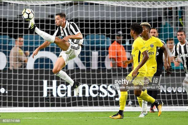 Mattia De Sciglio in action during the International Champions Cup 2017 match between Juventus and Paris Saint Germain at Hard Rock Stadium on July...