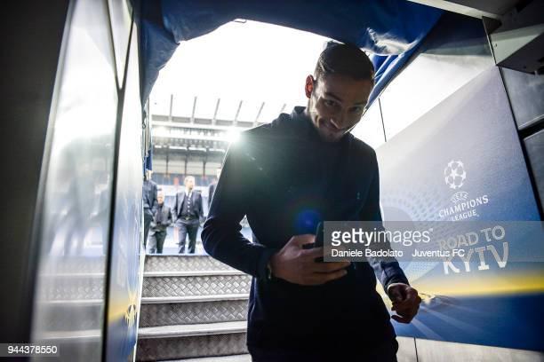 Mattia De Sciglio in action during the Juventus team walk around at Estadio Santiago Bernabeu on April 10 2018 in Madrid Spain