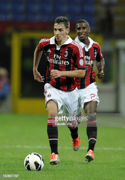 Mattia De Sciglio of AC Milan in action during the Serie A match between AC Milan and Cagliari Calcio at San Siro Stadium on September 26 2012 in...