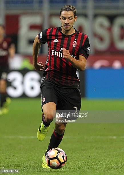 Mattia De Sciglio of AC Milan in action during the Serie A match between AC Milan and SS Lazio at Stadio Giuseppe Meazza on September 20 2016 in...