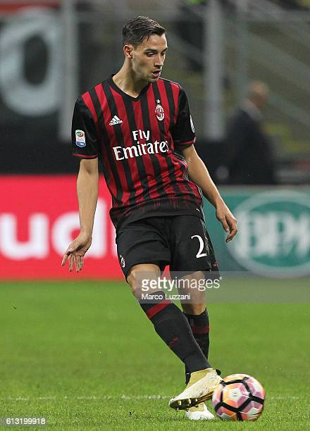 Mattia De Sciglio of AC Milan in action during the Serie A match between AC Milan and US Sassuolo at Stadio Giuseppe Meazza on October 2 2016 in...