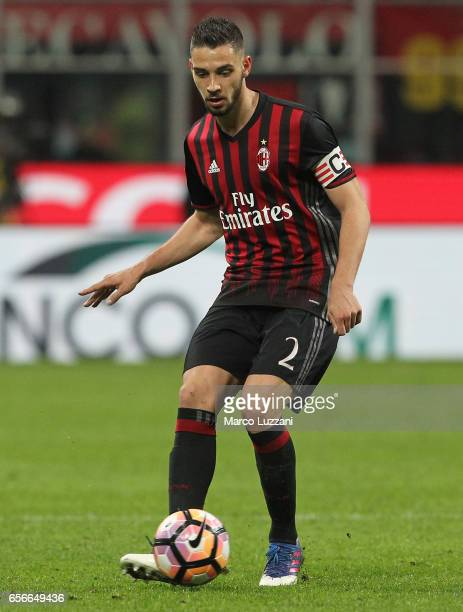 Mattia De Sciglio of AC Milan in action during the Serie A match between AC Milan and Genoa CFC at Stadio Giuseppe Meazza on March 18 2017 in Milan...