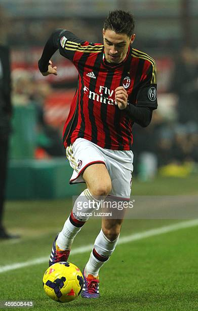 Mattia De Sciglio of AC Milan in action during the Serie A match between FC Internazionale Milano and AC Milan at San Siro Stadium on December 22...