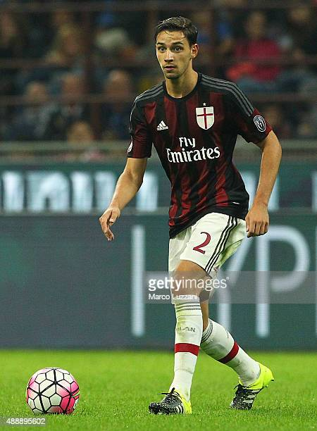 Mattia De Sciglio of AC Milan in action during the Serie A match between FC Internazionale Milano and AC Milan at Stadio Giuseppe Meazza on September...