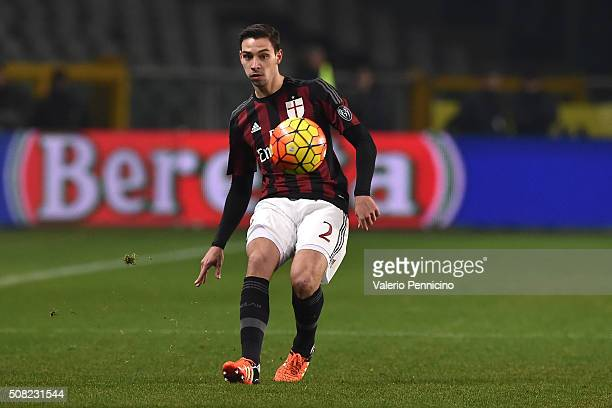Mattia De Sciglio of AC Milan in action during the TIM Cup match between US Alessandria and AC Milan at Olimpico Stadium on January 26 2016 in Turin...