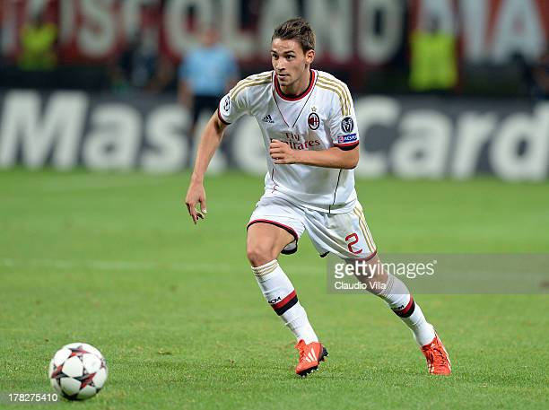 Mattia De Sciglio of AC Milan in action during the UEFA Champions League Playoff Second Leg match between AC Milan v PSV Eindhoven at Stadio Giuseppe...