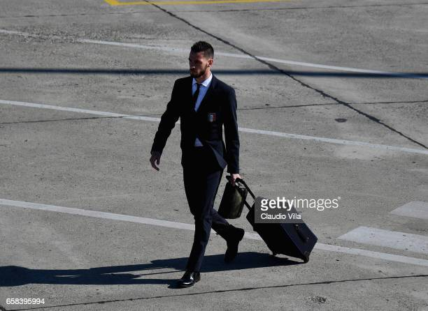 Mattia De Sciglio of Italy departs for Amsterdam on March 27 2017 in Florence Italy