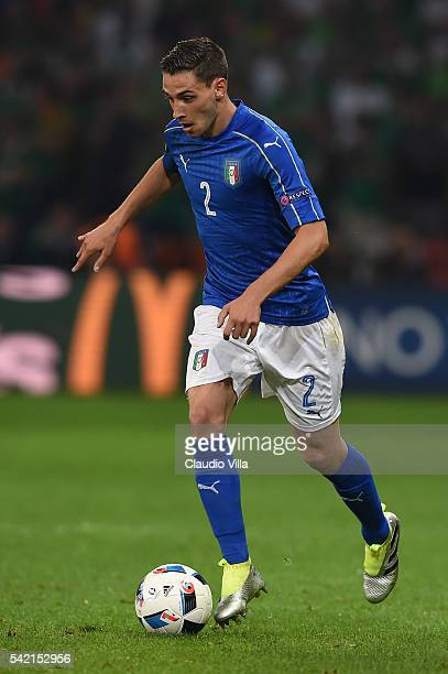 Mattia De Sciglio of Italy gestures qduring the UEFA EURO 2016 Group E match between Italy and Republic of Ireland at Stade PierreMauroy on June 22...