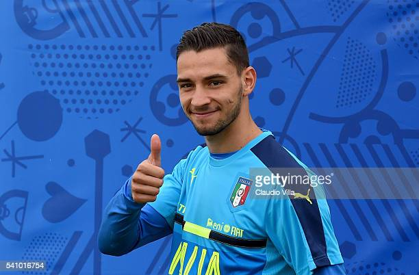Mattia De Sciglio of Italy greets prior to the training session at 'Bernard Gasset' Training Center on June 18 2016 in Montpellier France