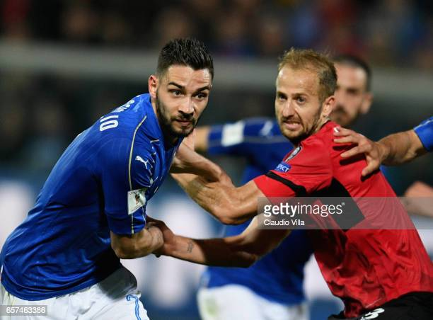 Mattia De Sciglio of Italy in action during the FIFA 2018 World Cup Qualifier between Italy and Albania at Stadio Renzo Barbera on March 24 2017 in...