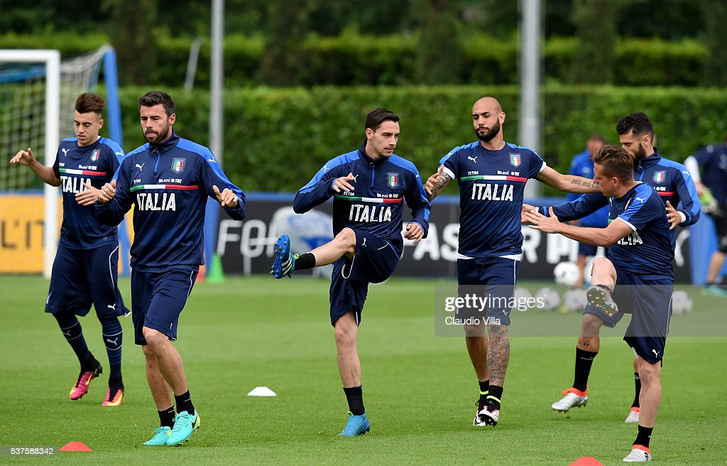 Mattia De Sciglio of Italy (C) in action during the Italy training session at the club's training ground at Coverciano on June 02, 2016 in Florence, Italy.
