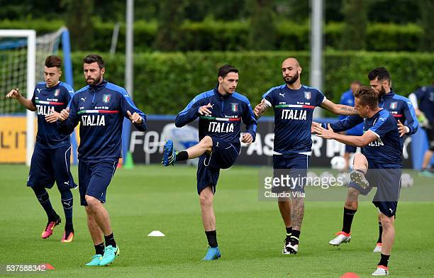 Mattia De Sciglio of Italy in action during the Italy training session at the club's training ground at Coverciano on June 02 2016 in Florence Italy