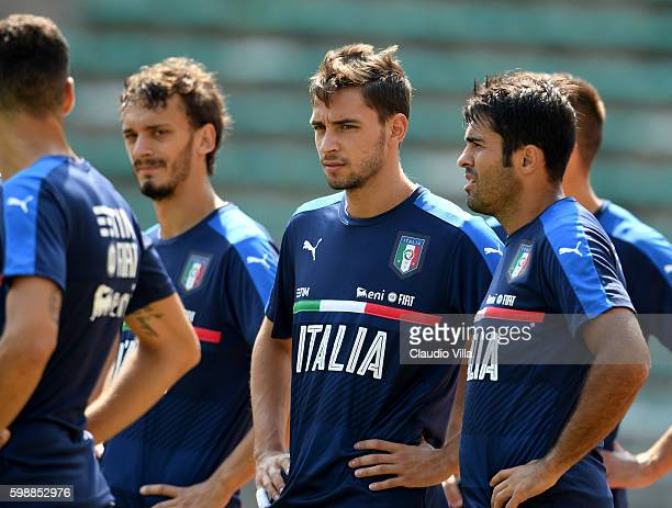 Mattia De Sciglio of Italy looks on during the Italy training session at Stadio San Nicola on September 3 2016 in Bari Italy