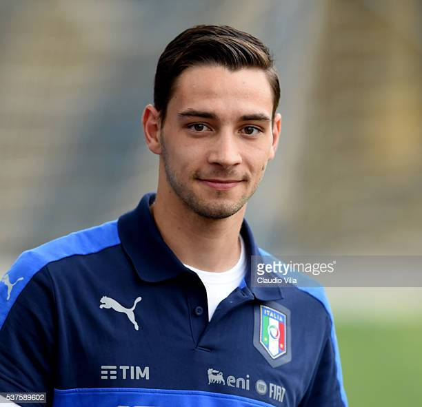 Mattia De Sciglio of Italy looks on prior to the Italy training session at the club's training ground at Coverciano on June 02 2016 in Florence Italy