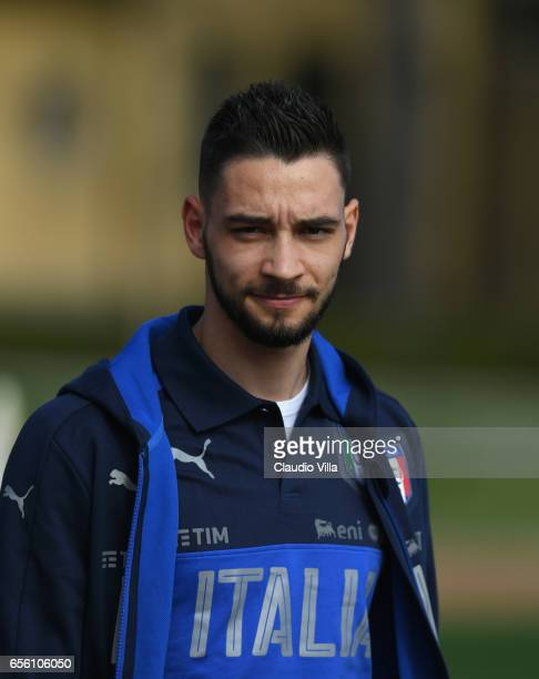 Mattia De Sciglio of Italy looks on prior to the training session at the club's training ground at Coverciano on March 21 2017 in Florence Italy