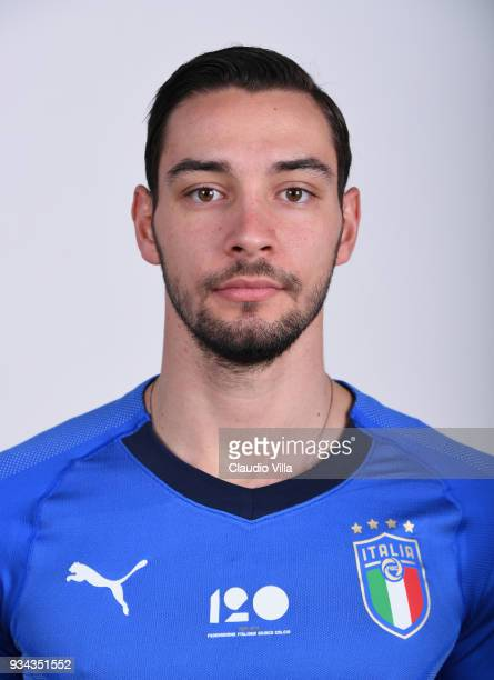 Mattia De Sciglio of Italy poses during the official portrait session at Centro Tecnico Federale of Coverciano on March 19 2018 in Florence Italy