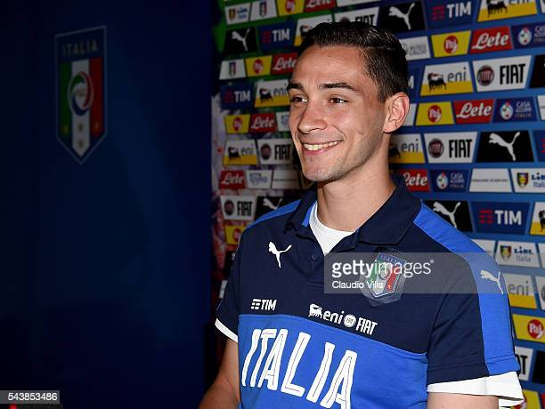Mattia De Sciglio of Italy speaks with the media during a press conference at Casa Azzurri on June 30 2016 in Montpellier France
