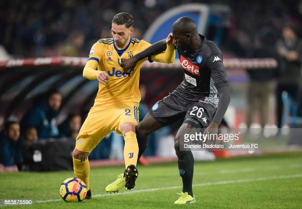Mattia De Sciglio of Juventus during the Serie A match between SSC Napoli and Juventus at Stadio San Paolo on December 1 2017 in Naples Italy