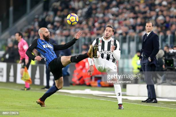 Mattia De Sciglio of Juventus FC and Borja Valero of Fc Internazionale in action during the Serie A football match between Juventus FC and Fc...