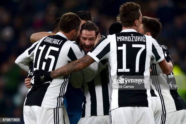 Mattia De Sciglio of Juventus FC celebrates with his teamamtes after scoring a goal during the Serie A football match between Juventus FC and FC...