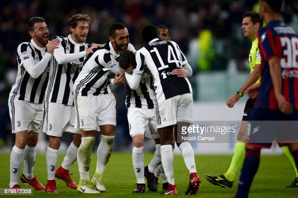 Mattia De Sciglio of Juventus FC celebrates with his teammates after scoring a goal during the Serie A football match between Juventus FC and FC...