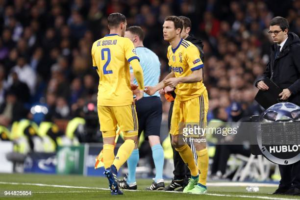 Mattia De Sciglio of Juventus FC Stephan Lichtsteiner of Juventus FC during the UEFA Champions League quarter final match between Real Madrid and...