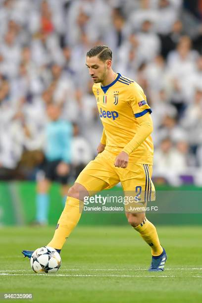 Mattia De Sciglio of Juventus in action during the Champions League match between Real Madrid and Juventus at Estadio Santiago Bernabeu on April 11...