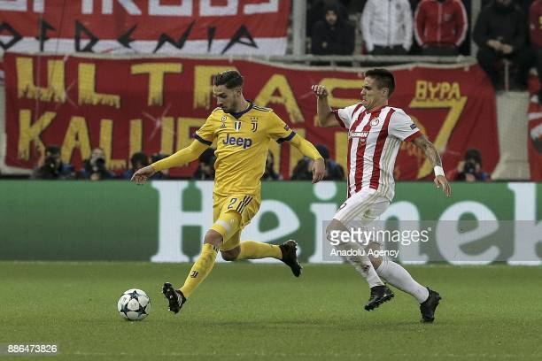 Mattia De Sciglio of Juventus in action during the UEFA Champions League soccer match between Olympiacos FC and Juventus at Georgios Karaiskakis...