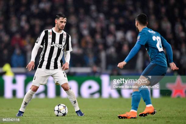Mattia De Sciglio of Juventus in action during the UEFA Champions League Quarter Final Leg One match between Juventus and Real Madrid at Allianz...
