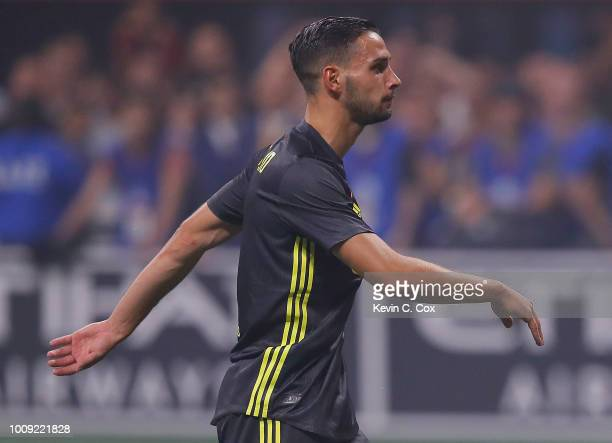 Mattia De Sciglio of Juventus reacts after scoring the fifth penalty shot to give Juventus a 54 penalty shootout win over the MLS AllStars during the...