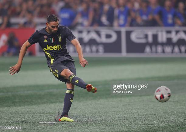 Mattia De Sciglio of Juventus scores the fifth penalty shot to give Juventus a 54 penalty shootout win over the MLS AllStars during the 2018 MLS...