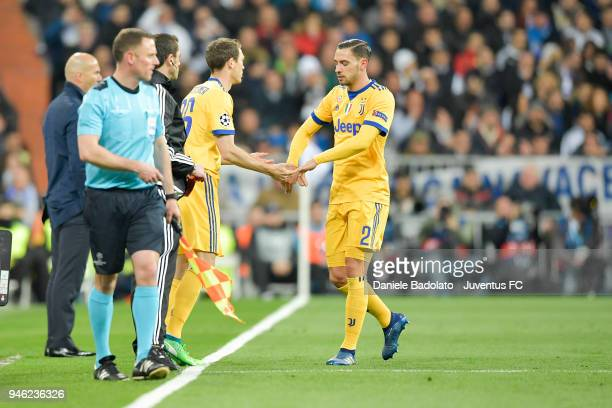 Mattia De Sciglio of Juventus substituted by Stephan Lichtsteiner during the Champions League match between Real Madrid and Juventus at Estadio...