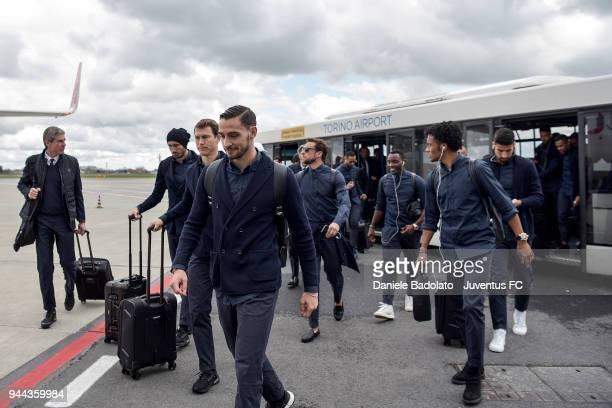 Mattia De Sciglio of Juventus travelling to Madrid on April 10 2018 in Turin Italy