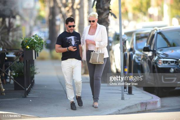 Mattia Dessì and Brigitte Nielssen are seen on October 23 2019 in Los Angeles California