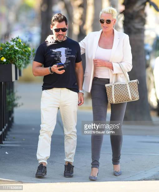 Mattia Dessi and Brigitte Nielsen are seen on October 23 2019 in Los Angeles California