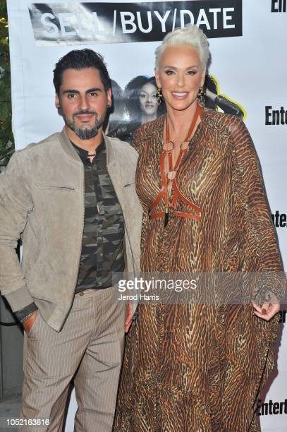 Mattia Dessi and Brigitte Nielsen attend the Opening Night Of 'Sell/Buy/Date' at Los Angeles LGBT Center on October 14 2018 in Los Angeles California