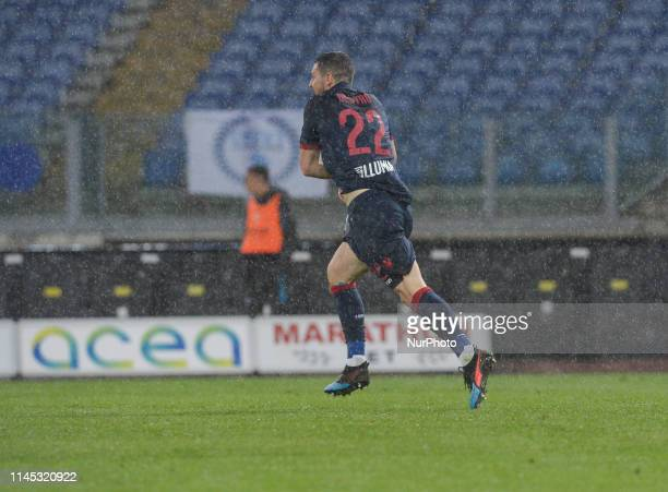 Mattia Destro celebrates after scoring goal 12 during the Italian Serie A football match between SS Lazio and Bologna at the Olympic Stadium in Rome...