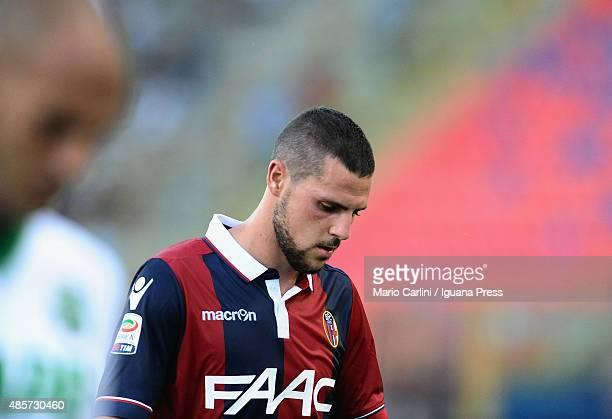 Mattia Destro looks on during the Serie A match between Bologna FC and US Sassuolo Calcio at Stadio Renato Dall'Ara on August 29 2015 in Bologna Italy