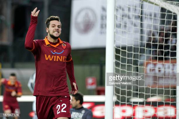 Mattia Destro of AS Roma celebrates after scoring a goal to equalise during the Serie A match between AC Siena and AS Roma at Stadio Artemio Franchi...