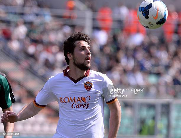 Mattia Destro of AS Roma in action during the Serie A match between US Sassuolo Calcio and AS Roma on March 30 2014 in Sassuolo Italy