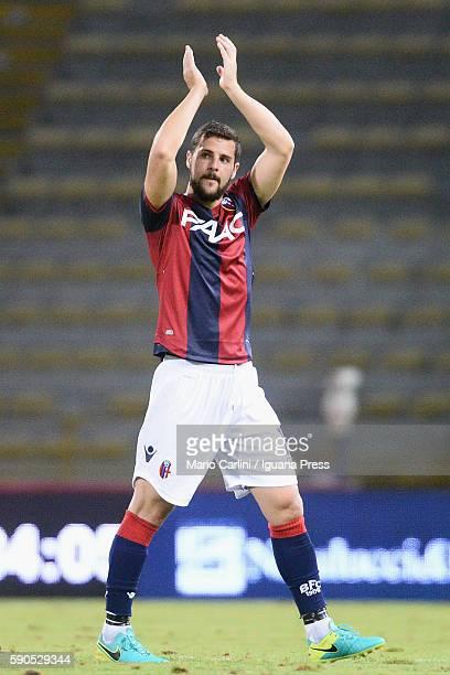 Mattia Destro of Bologna celebrates during the Tim Cup match between Bologna FC andTrapani Calcio at Stadio Renato Dall'Ara on August 12 2016 in...