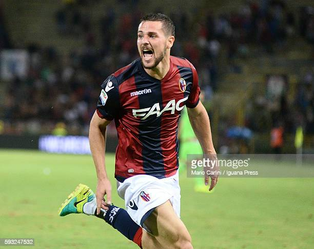 Mattia Destro of Bologna FC celebrates after scoring a goal during the Serie A match between Bologna FC and FC Crotone at Stadio Renato Dall'Ara on...